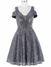 Short Sequins Bridesmaid Formal Dress Evening  Party Cocktail Ball Prom Dresses