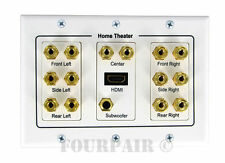 7.1 Surround Speaker Wire Wall Banana Post Face Plate HDMI Port White (5.1 6.1)