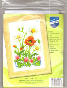 Vervaco Wild Flowers Counted Cross Stitch Kit Daisies Poppy Red Clover NEW!!