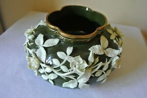 Rare Antique KTK Knowles Lotus Ware Low Vase White on Green gold trim