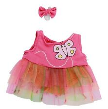 """Butterfly Dress & Earbow outfit teddy bear clothes fits 15"""" Build a Bear"""