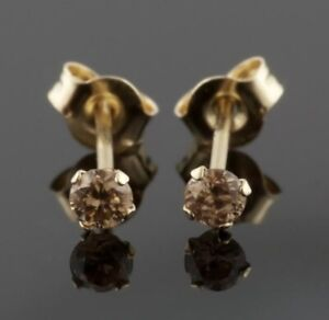 VS Chocolate Round Brilliant Diamond Earring Studs Rich Brown Earrings C7 Color