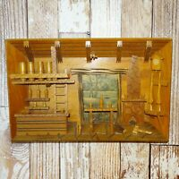 Antique Folk Art Wood Shadowbox Diorama Wall Art Primitive Rustic Cabin 15.5x10