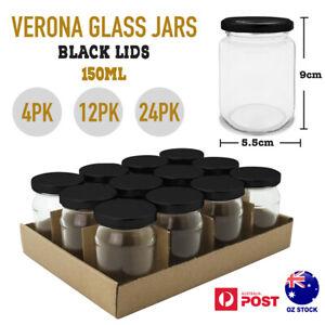 4/12/24x 150ml Small Glass Jar Black Airtight Lid Food Jam Lolly Storage Wedding