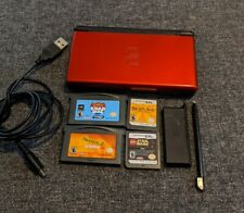 Nintendo DS Lite Handheld System Console Crimson Red / Black 4 Games USB Charger
