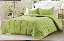 Down Alternative Comforter Set Reversible Solid/Emboss Striped Queen All Colors