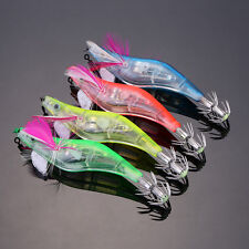 4x LED Lighted Shrimp Fishing Lures Squid Bait Prawn Baits Jigs Tackle 4 Colors