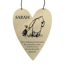 Disney Winnie The Pooh quote personalised on metal heart wall hanging gift