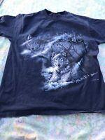 Vintage 1996 Alaska Wolf Mountain Graphic Print T-Shirt Blue Forest Woods