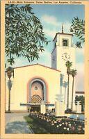 1940 Linen Postcard Main Entrance Union Depot Los Angeles CA Exterior - Unposted