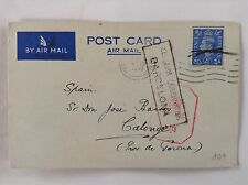 WW2 Kendal calogne Espagne air mail double censuré carte 1942 par Madrid Barcelone