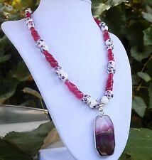 "18"" Pink Fuschia Jade Necklace with Porcelain Flower Beads & Geode Pendant"
