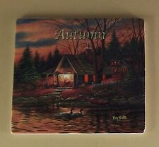 Terry Redlin's Seasons in Time Clock Collection Plate Autumn #1 Tile Log Cabin