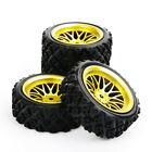 4Pcs Rubber Tires &Wheel Rims For HPI HSP RC 1:10  Rally Off Road Car 12mm Hex
