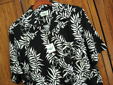 NWT Mens Silk Hawaiian Camp Shirt Aloha Black & White Floral Beach New Large L