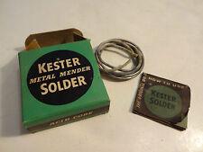 VINTAGE KESTER METAL MENDER SOLDER ACID CORE PARTIAL ROLL BOX & INSTRUCTIONS
