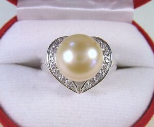 11 MM PEACH PEARL & WHITE SAPPHIRE RING #7.5 WHITE GOLD over 925 STERLING SILVER