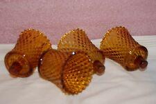 "Vtg Home Interior Amber Diamond Cut Votive Cups (4) Cups 3"" Homco"