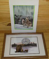 Lot Of 2 Sue Coleman Prints, Bear And Cubs, Northern Song Wolves