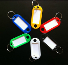 10pcs Key Rings Tags Plastic Assorted Color Plastic ID Card Identity Tags Label