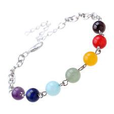 Silver 7 Chakra Colour Crystal Twist Bracelet  Buddha beads energy