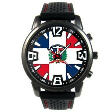 Dominican Republic Country Flag Mens Rubber Silicone Bracelet Wrist Watch S64F