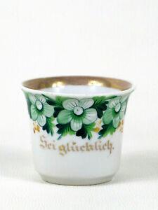 """BPM Buckauer Porzellan ♦ seltene alte Kaffeetasse  """"Sei glücklich"""" 1844 - 1860"""