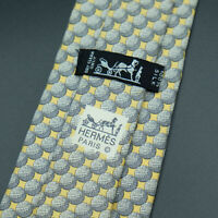 Hermes Paris Made In France Yellow Ball Pattern Silk Tie 982 SA