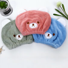 Kids Boys Girls Hair Drying Towel Coral Velvet Quick Dry Turban Cap Elastic Hat