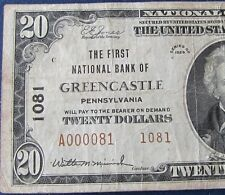 1929 $20 National Banknote Greencastle PA Charter #1081