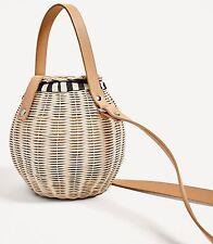 NWT ZARA RAFFIA BUCKET BAG womens nude satchel basket Ref 4408/204 bloggers