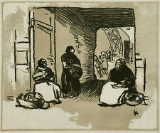 COLOR WOODCUT French ~ AUGUSTE LEPERE ~ c.1887 Bread Merchants WOODBLOCK