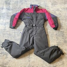Vintage Columbia Snowsuit Ski One Piece Snow Suit Hidden Hood Purple Women's LG