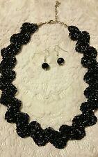 Handmade Braided Black Gray Silver Glass Necklace  Set