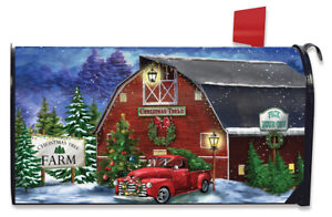 Christmas Tree Farm Large Magnetic Mailbox Cover Red Pickup Oversized