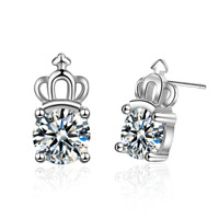 Women Lady Girl Princess 925 Sterling Silver CZ Zircon Crown Ear Stud Earrings