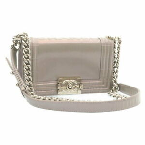 Chanel Shoulder Bag Boy Chain Patent Leather Gray Women 'S Secondhand 227 _58721