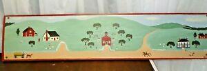 """Chicken Creek Folk Art Primitive Farm Painted Wood 35"""" Plaque Door Window 1996"""