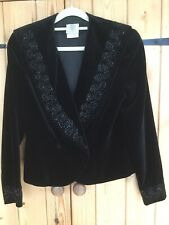 Vintage Laura Ashley Black Velvet Beaded Shawl Collar Jacket Sz 10