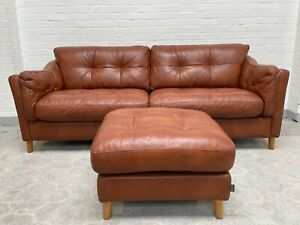 Alexander and James Camden Collection Loft 4 Seater Leather Sofa+Footstool