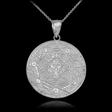 10K White Gold 7 Chakra Yoga Calendar Medallion Pendant Necklace