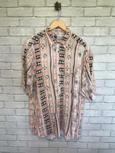 Mens Vtg 90s CRAZY PATTERN SHIRT Party Festival Loud Ugly Holiday Large