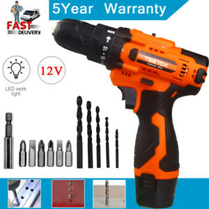 12V Cordless Combi Drill Driver Li-Ion Fast Charge Electric Screwdriver 2Battery