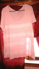 NWT WOMENS TOP OLD NAVY PEACHY ROSE LACE ACCENTED SCOOP NECK SHIRT XL
