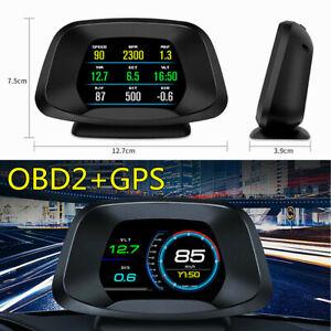 Universal Car Head Up Digital Display OBD2 GPS HUD Speedometer Overspeed Alarm
