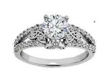 Ring with Split Diamond Band Forever Brilliant Moissanite Celtic Engagement