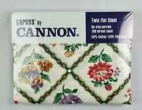 Vintage 1994 Caress By Cannon Twin Flat Sheet No Iron Percale Floral Pattern