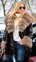 NEW BROWN SAGA MINK FUR COAT FOX CLASS- SABLE CHINCHILLA JACKET LONG VEST TRENCH