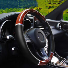 Wood Grain Car Steering Wheel Cover for Auto Car SUV Lux Grip Black Syn Leather