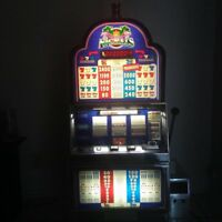 "Slot Machine-Nickel slot machine ""Flamingo"" Blue slot machine w/Stand, ""Works"""